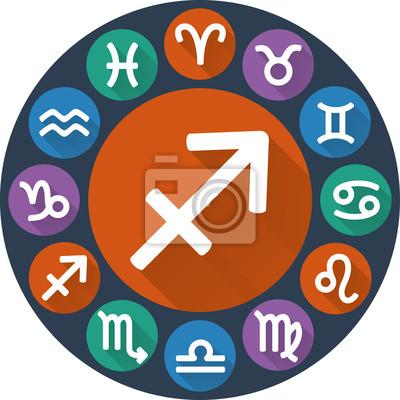 Signes du zodiaque cercle - Sagittaire. Icone plat astrologique