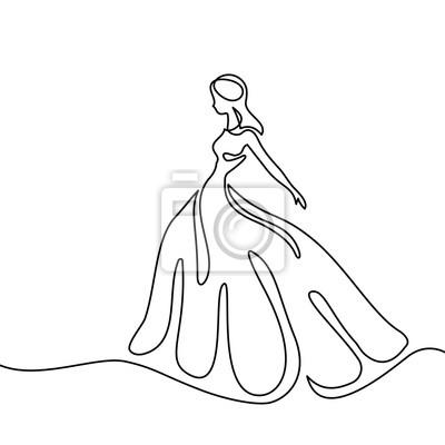 Dessiner Une Silhouette De Femme silhouette dune femme mince femme dans une longue robe. dessin