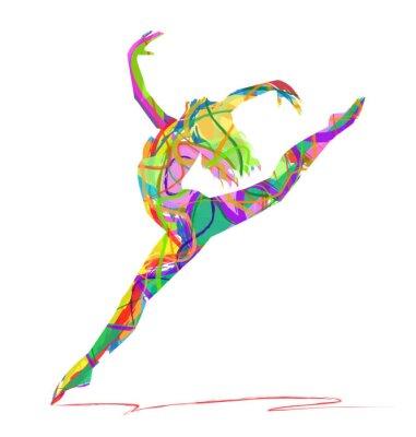 Image silhouette di ballerine composta da colori