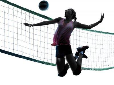 Image silhouette femme joueurs de volley-ball isolé