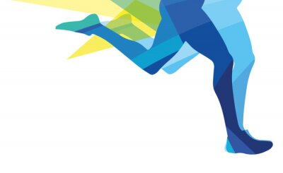 Image Silhouette, homme, fonctionnement, jambes, transparent, superposition, couleurs