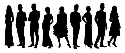 Image Silhouette of business people posing isolated on white