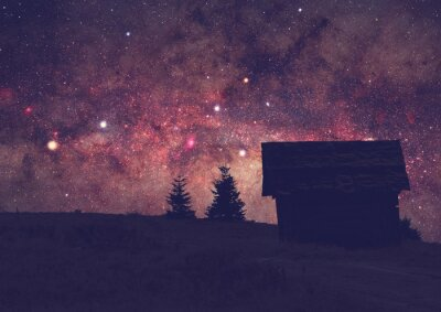 Image Silhouettes d'une campagne avec la Voie Lactée. Photo d'exposition longue prise d'un dessus de montagne foncé.