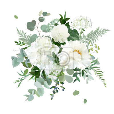 Image Silver sage green and white flowers vector design spring herbal bouquet