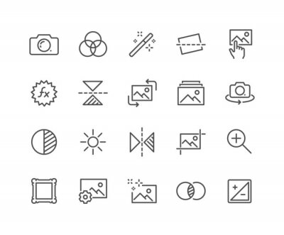Image Simple Set of Image Editing Related Vector Line Icons. Contains such Icons as Image Gallery, Auto Correction, Adjustments and more. Editable Stroke. 48x48 Pixel Perfect.