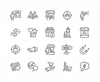 Image Simple Set of Marketing Strategy Related Vector Line Icons. Contains such Icons as Product Presentation, Seller, Buyer and more. Editable Stroke. 48x48 Pixel Perfect.