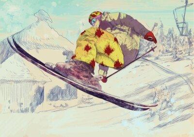 Image Skieur de style libre, tour (ce qui est convertie en dessin vectoriel)
