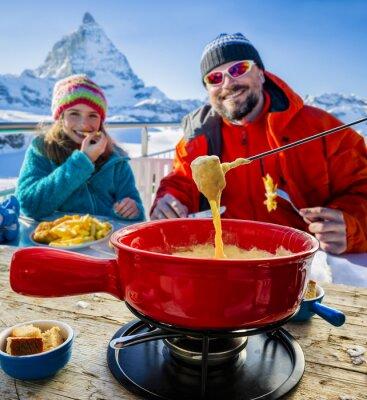 Image Skieur, restaurant, fondue, traditionnel, suisse, plat - Matterhorn, suisse, alpes, fond