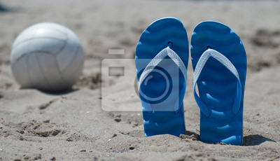 slippers Beach Ball on the sand