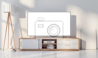 Smart tv mockup sur console dans le salon moderne blanc. rendu ...