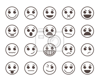 Smiley Figure Plat Ligne Vecteur Icones Ensemble Rigolote Peintures Murales Tableaux Emoticones Smiley Smileys Myloview Fr