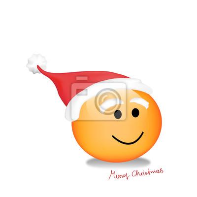 Smiley Joyeux Noel Peintures Murales Tableaux Emoticone Santa Noel Myloview Fr