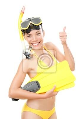 Snorkeling femme de vacances isolée