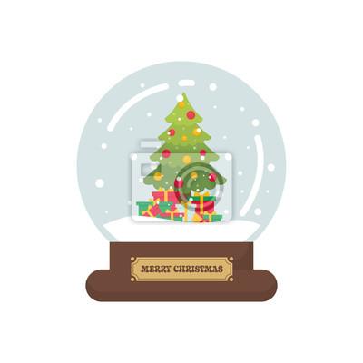 Snowglobe Mignon De Noel De Dessin Anime Avec Et Sapin Et Cadeau