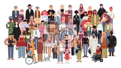 Image Socially diverse multicultural and multiracial people on an isolated white background. Happy old and young women and men with children, as well as people with disabilities standing together. Vector