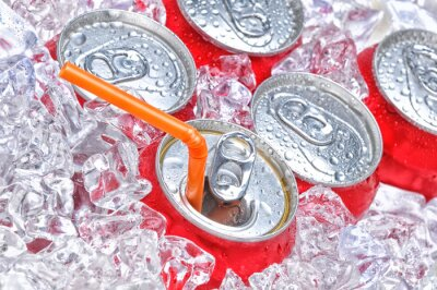 Soda Cans in Ice with Straw