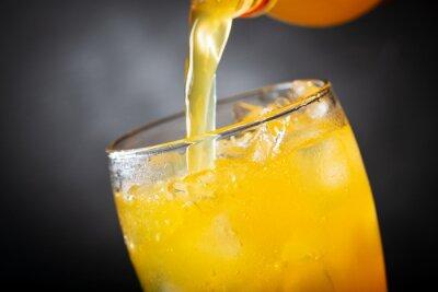 soft drink, pouring orange soda into glass