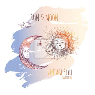 Image Soleil Et Lune Illustration De Sketch Vector Dessin Plume