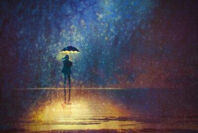 Image Solitaire, femme, sous, parapluie, lumières, sombre, numérique, peinture