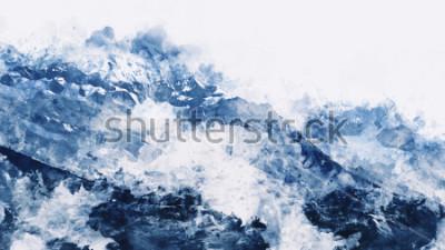 Image Sommet de la montagne en hiver, aquarelle numérique
