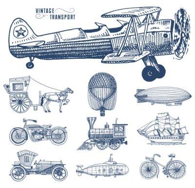 Image Sous-marin, bateau et voiture, moto, chariot à cheval. Dirigeable ou dirigeable, ballon à air, avions à maïs, locomotive. Dessin gravé à la main dans un style de croquis ancien, transport de passagers