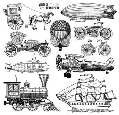 Image Sous-marin, bateau et voiture, moto, chariot à cheval. Dirigeable ou dirigible, ballon à air, avions à maïs, locomotive. Dessin gravé à la main dans un style de croquis ancien, transport de passagers