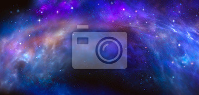 Space blue background with nebula and stars