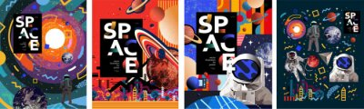 Image Space. Vector abstract illustrations of an astronaut, planets, galaxy, mars, future, earth and stars. Science fiction drawing for poster, cover or background