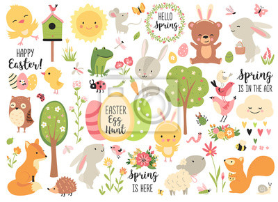 Image Spring and Easter collection of cute animals, flowers and decorations. Perfect for poster, card, scrapbooking , tag, invitation, sticker kit. Hand drawn vector illustration.