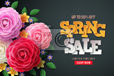 Image Spring sale vector flowers background. Spring sale text, colorful camellia flowers and crocus flowers in back background for spring seasonal promotion.