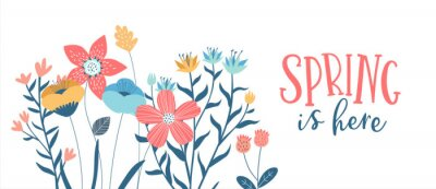 Image Spring season card of hand drawn cute flowers