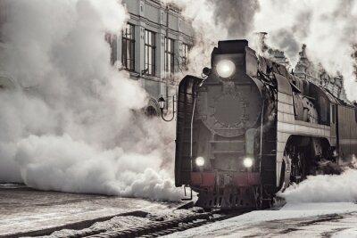 Image Steam train departs from Riga railway station. Moscow.