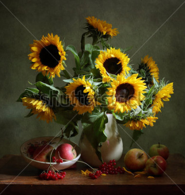 Image Still life with sunflowers and apples