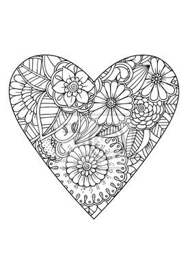 Coloriage Coeur Motif.Image Style De Livre A Colorier Theme De Valentin Coeur Avec Motif