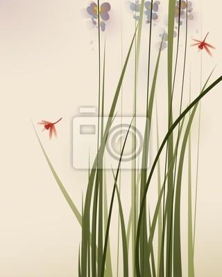 Style Oriental Peinture De Hautes Herbes Et De Fleurs Peintures