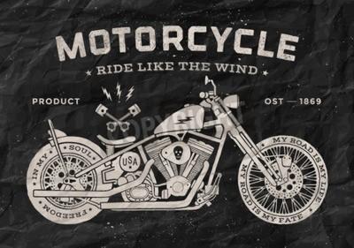 Image Style vintage de la vieille école de moto de course. Affiche noir et blanc, imprimé pour t-shirt. Illustration vectorielle.