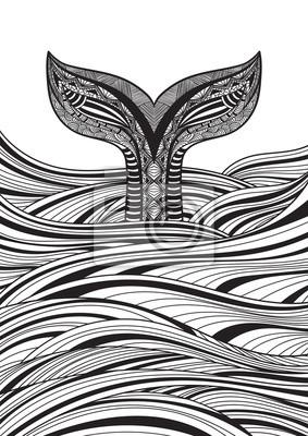 Coloriage Queue De Baleine.Stylise Main Tire Baleine Queue Ocean Vagues Vecteur