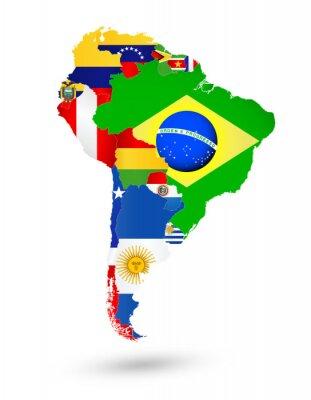 Image Sud, amérique, carte, drapeaux, emplacement, monde, carte