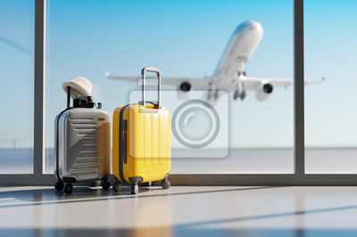Image Suitcases in airport. Travel concept. 3d rendering