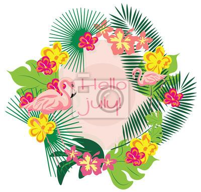 Image Summer Card Couronne Avec Flamants Roses Feuilles De Palmier Et Fleurs Tropic Voyage