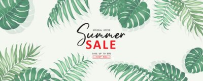 Image Summer sale banner design with tropical leaves background