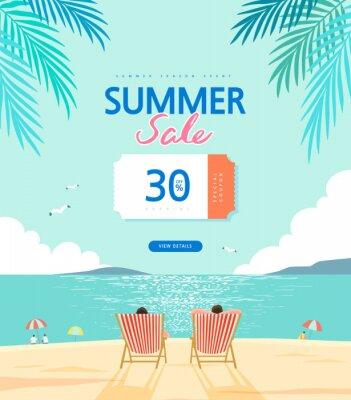 Image summer shopping event illustration. Banner