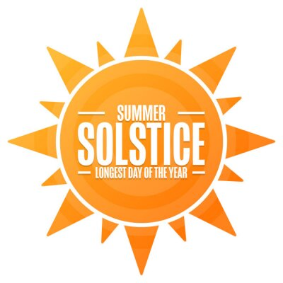 Image Summer Solstice. Longest day of the year. Holiday concept. Template for background, banner, card, poster with text inscription. Vector EPS10 illustration.