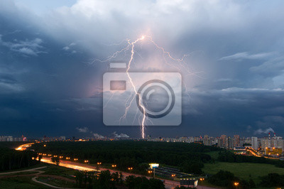 Summer thunderstorm with lightning over Moscow, Russia
