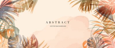 Image summer tropical background vector. Palm leaves, monstera leaf, Botanical background design for wall framed prints, wall art, invitation, canvas prints, poster, home decor, cover, wallpaper.