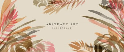Image Summer tropical background vector. Palm leaves, monstera leaf, Botanical watercolor background  for wall framed prints, wall art, invitation, canvas prints, poster, home decor, cover, wallpaper.