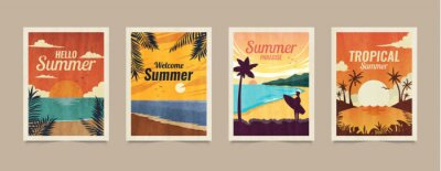 Image Summer tropical cards. Vacation posters in retro style. Backgrounds with summer tropical leaves, landscapes, sunsets and nature graphics