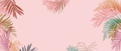 Image summer tropical wall arts vector. Palm leaves, monstera leaf, Botanical  background design for wall framed prints, canvas prints, poster, home decor, cover, wallpaper.