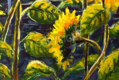 Image sunflowers in sun Original oil painting of sunflower flowers, beautiful sunflowers flowers on canvas. Modern Impressionism.Impasto artwork.