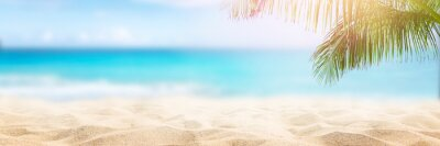 Image Sunny tropical beach with palm trees